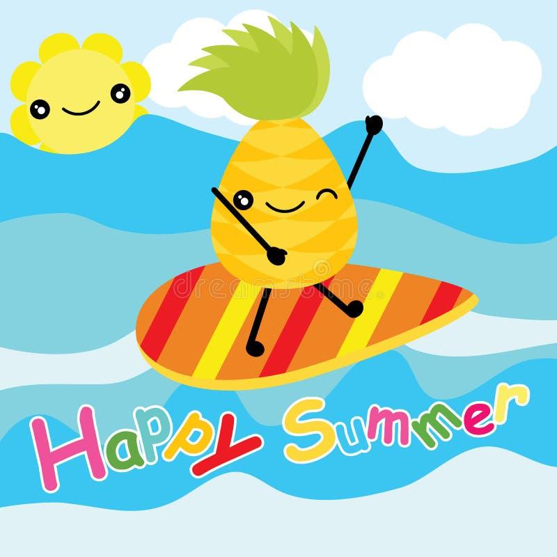 Śliczny ananas surfuje na plaży na pasiastej tło kreskówce, lato pocztówce, tapecie i kartka z pozdrowieniami, T-shir ilustracji