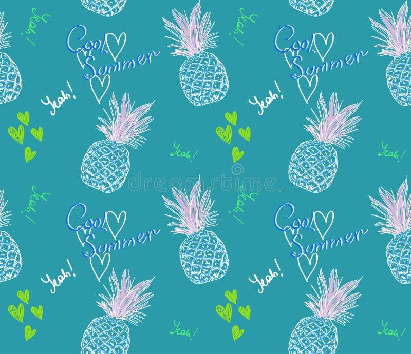 Śliczny ananasa wzór z teksta chłodno latem i serce na błękitnym tle ilustracji