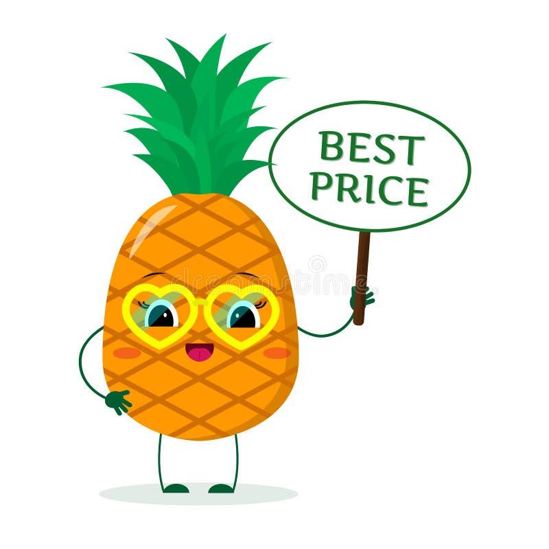 Śliczny ananasowy postać z kreskówki w żółtych kierowych szkłach w rękach talerz, jest najlepszy ceną royalty ilustracja