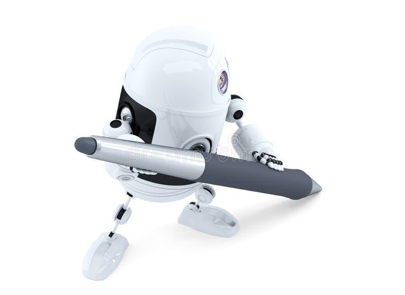 Śliczny androidu robot z piórem ilustracji