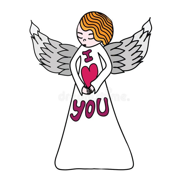 Śliczny anioł z sercem w rękach royalty ilustracja