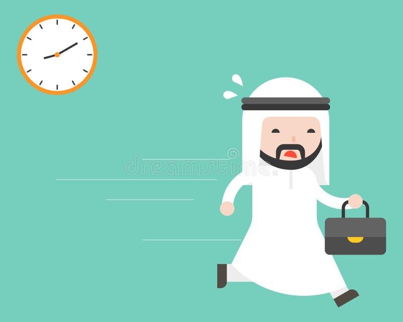 Śliczny arabski biznesmen niesie teczka bieg w godzinie szczytu przy mo royalty ilustracja