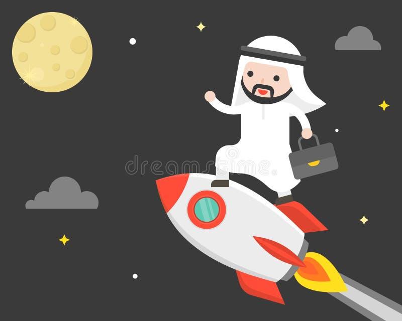 Śliczny arabski biznesowego mężczyzna jazdy rakiety latanie w niebie dosięgać royalty ilustracja