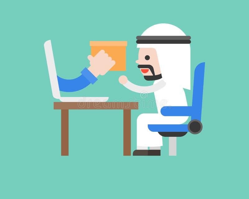 Śliczny arabski biznesowy mężczyzna akceptuje pakuneczek od laptopu, robi zakupy onlin ilustracja wektor