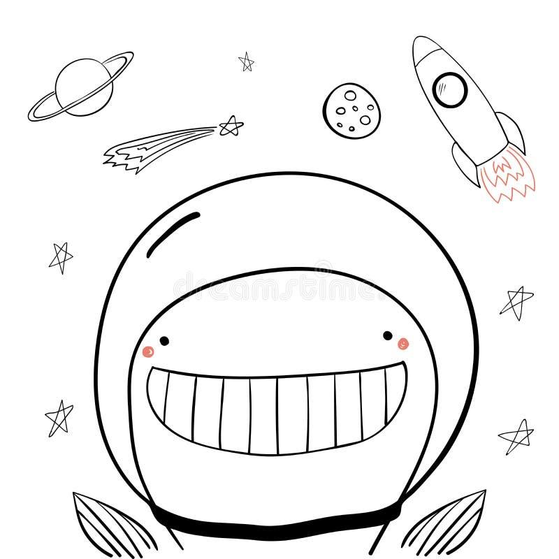Śliczny astronautyczny wieloryb ilustracja wektor