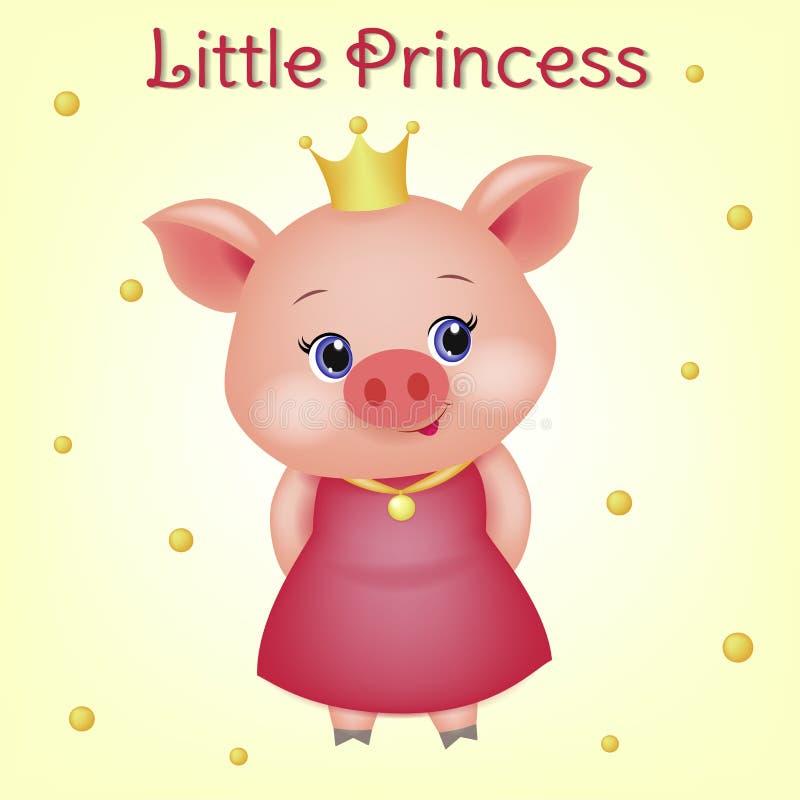 Śliczny avatar świniowaty princess z niebieskimi oczami troszkę 3d zwierzę z koroną w czerwieni sukni i złotym medalu na faborku ilustracji