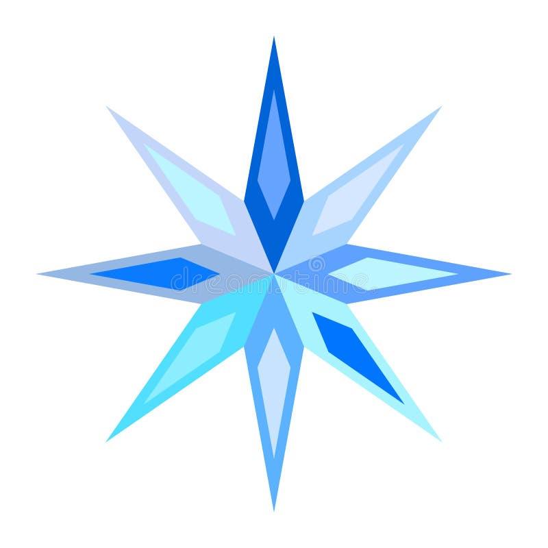Śliczny błękitny symboliczny pstrobarwny płatek śniegu, gwiazda ilustracji