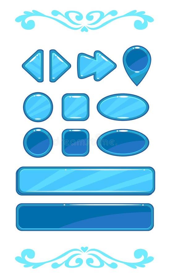 Śliczny błękitny wektorowy gemowy interfejs użytkownika ilustracja wektor