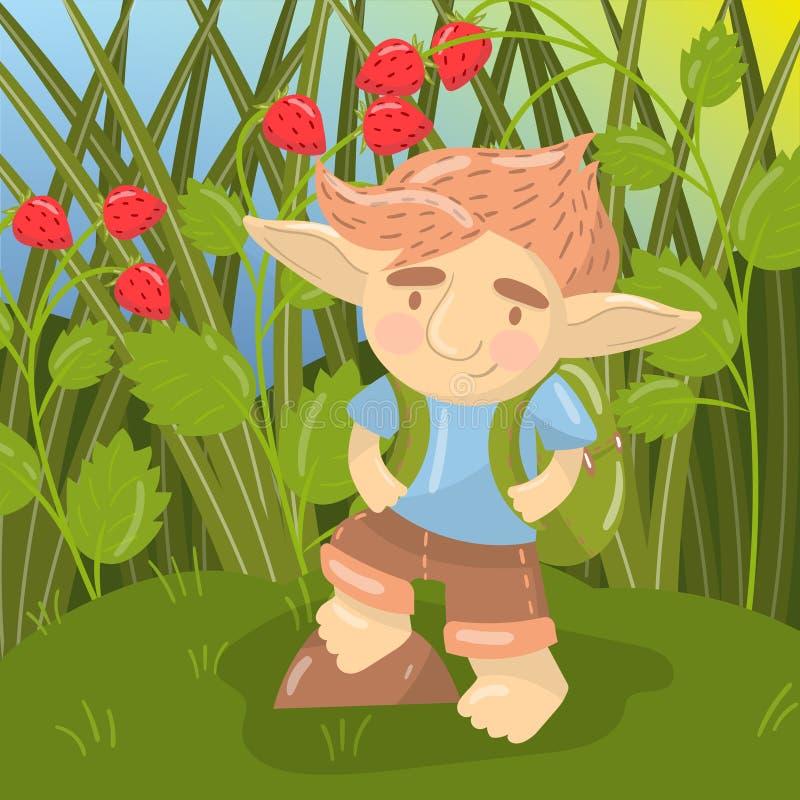 Śliczny błyszczki chłopiec charakter, śmieszna istoty pozycja z plecakiem na backround pole truskawkowy wektor ilustracja wektor