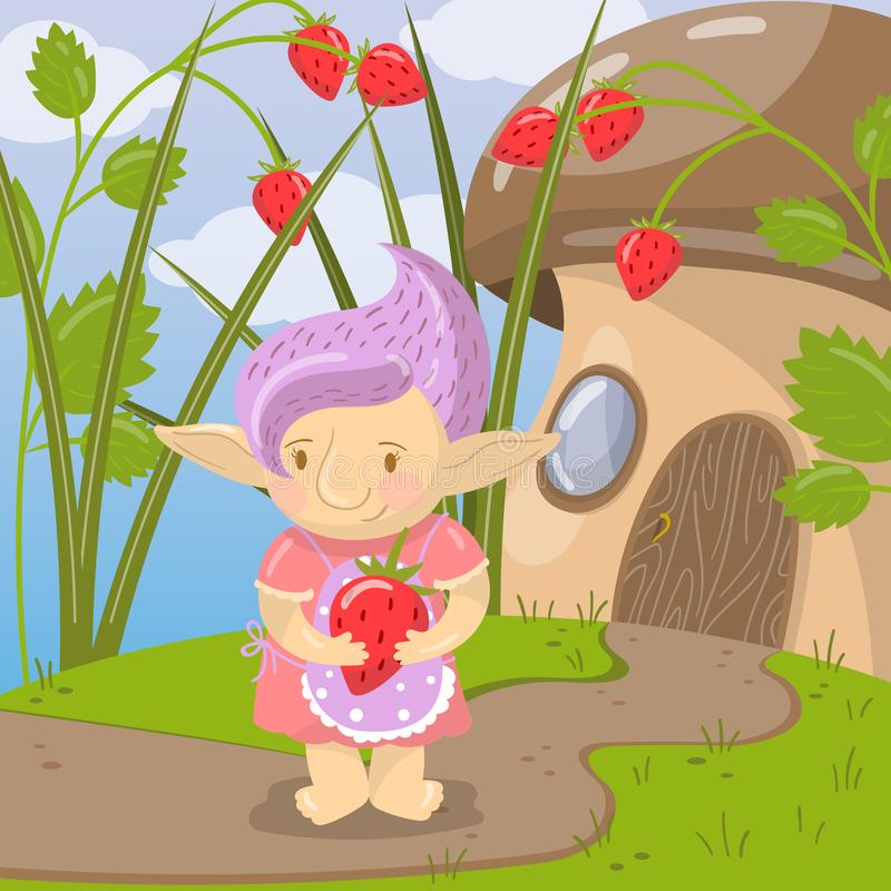 Śliczny błyszczki dziewczyny charakter z truskawkową pozycją na tle bajki pieczarki domu wektoru ilustracja ilustracji