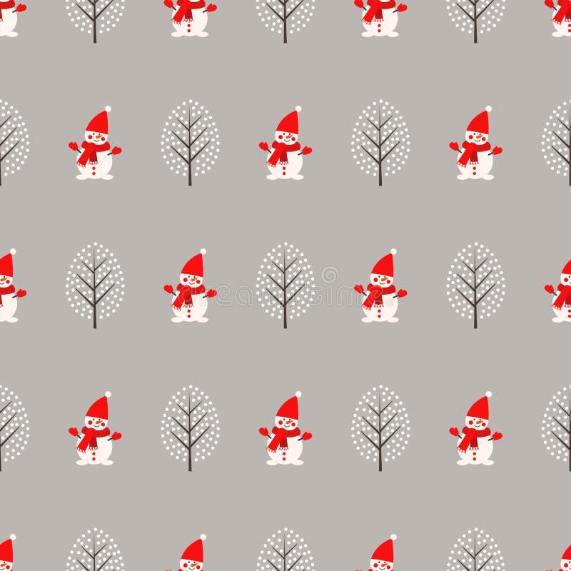 Śliczny bałwan i zima drzewny bezszwowy wzór na popielatym tle ilustracji