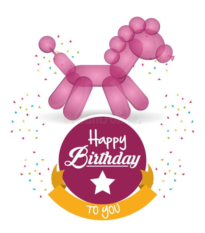 Śliczny balonowy koński wszystkiego najlepszego z okazji urodzin confetti faborek royalty ilustracja