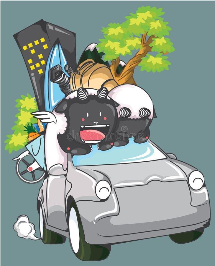 Śliczny Barani iść brać wakacje z sedanu samochodu ilustracją ilustracja wektor