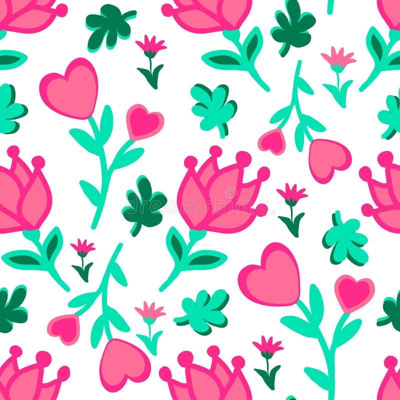 Śliczny bezszwowy kwiecisty miłość doodles wzór Serca, liście, kwitną wektorowego tło ilustracja wektor