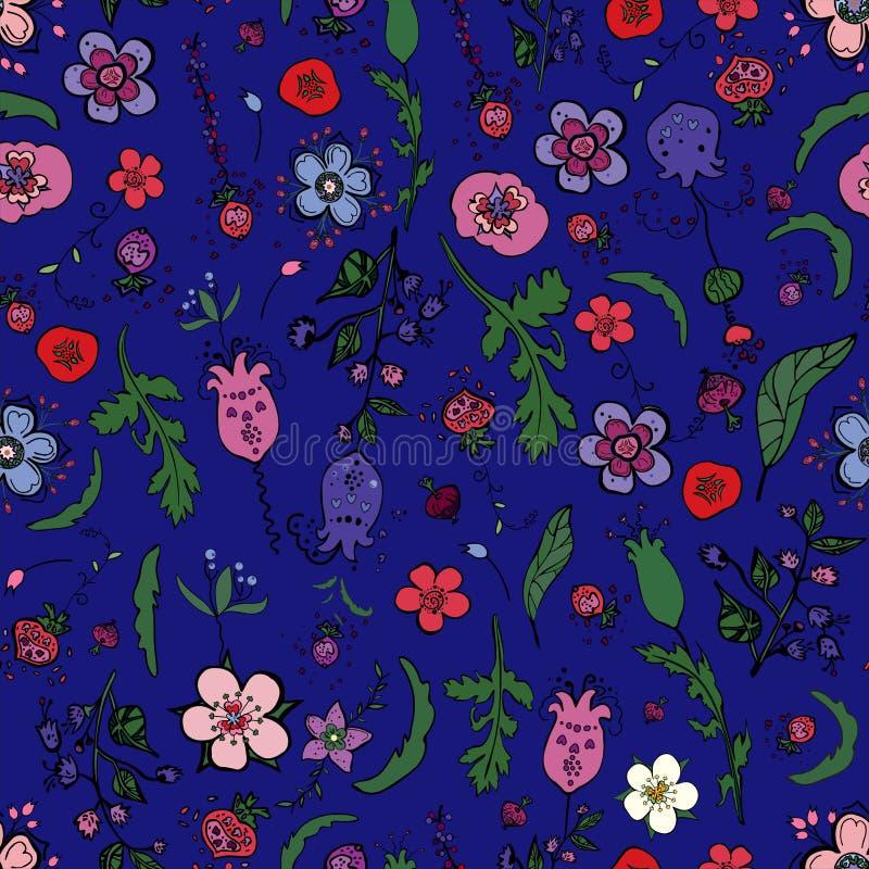 Śliczny bezszwowy kwiecisty wzór z jagodami, ziele i kwiatami w doodling stylu, ilustracja wektor