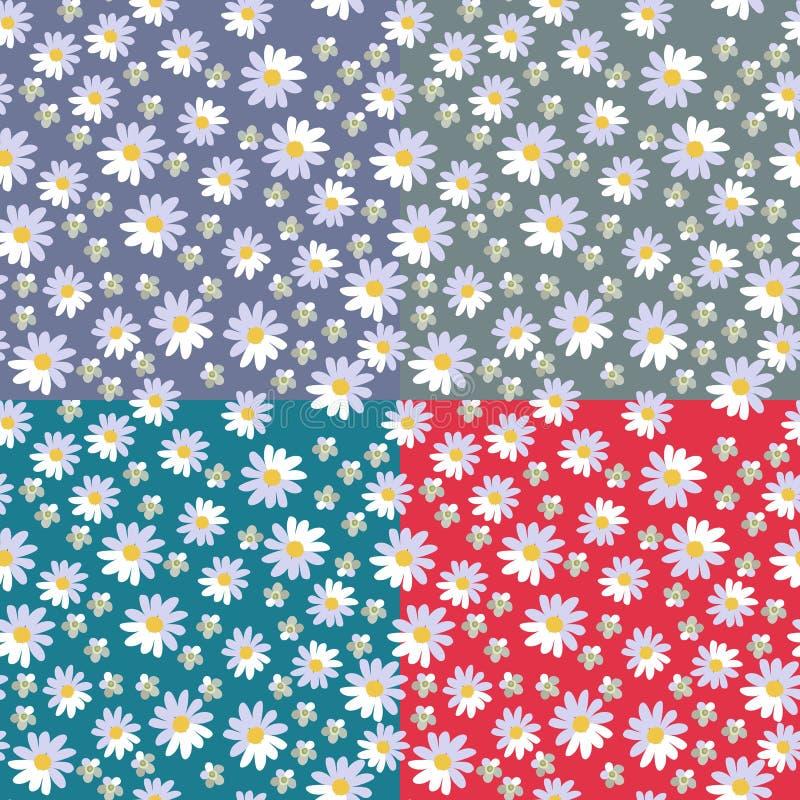 Śliczny bezszwowy kwiecisty wzór z stokrotkami i krwawnikiem kwitnie na różnych jaskrawych tło royalty ilustracja
