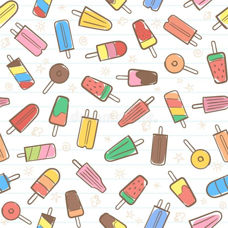 Śliczny bezszwowy lato wzór z rozmaitość lody owocowym backgr royalty ilustracja