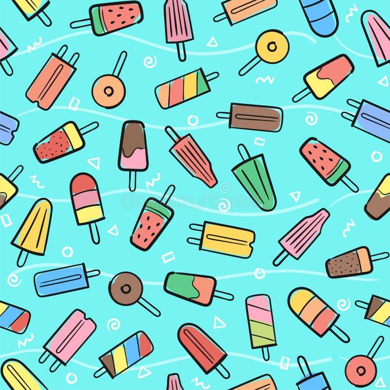 Śliczny bezszwowy lato wzór z rozmaitość lody owocowym backgr ilustracji