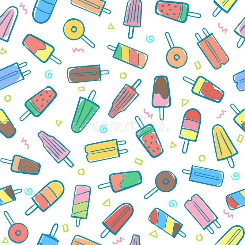 Śliczny bezszwowy lato wzór z rozmaitość lody owocowym backgr ilustracja wektor