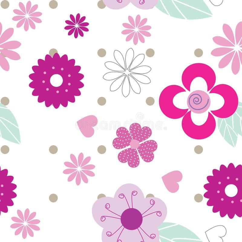 Śliczny bezszwowy tło wzór z różowymi kwiatami ilustracji
