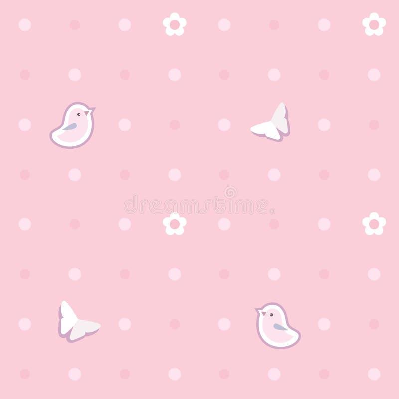 Śliczny bezszwowy tło z różowymi ptakami, motyle, kwiaty polki kropki wzór ilustracja wektor