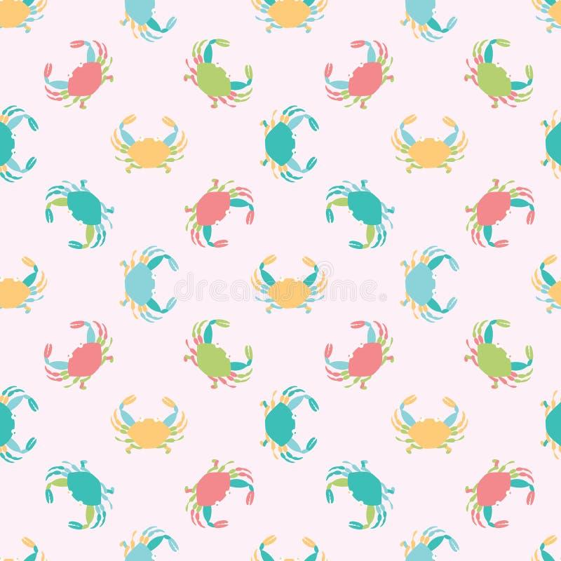 Śliczny bezszwowy wektoru wzoru tło robić dosyć kolorowi kraby w geometrycznym układzie dla tkaniny, tapeta ilustracja wektor