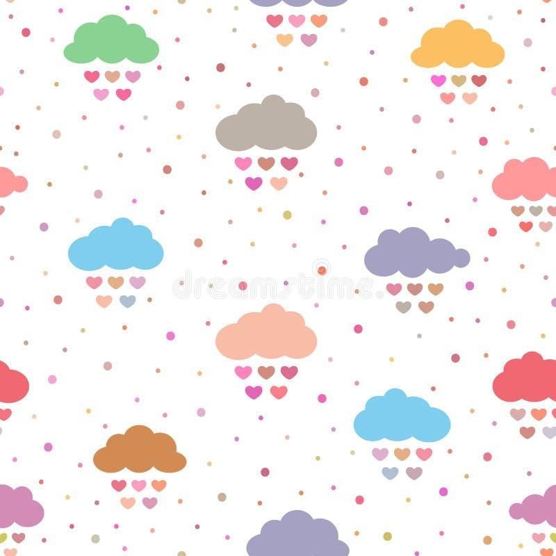 Śliczny bezszwowy wzór dla dzieci Stubarwne chmury z raindrops w postaci serc i polki kropki ilustracja wektor