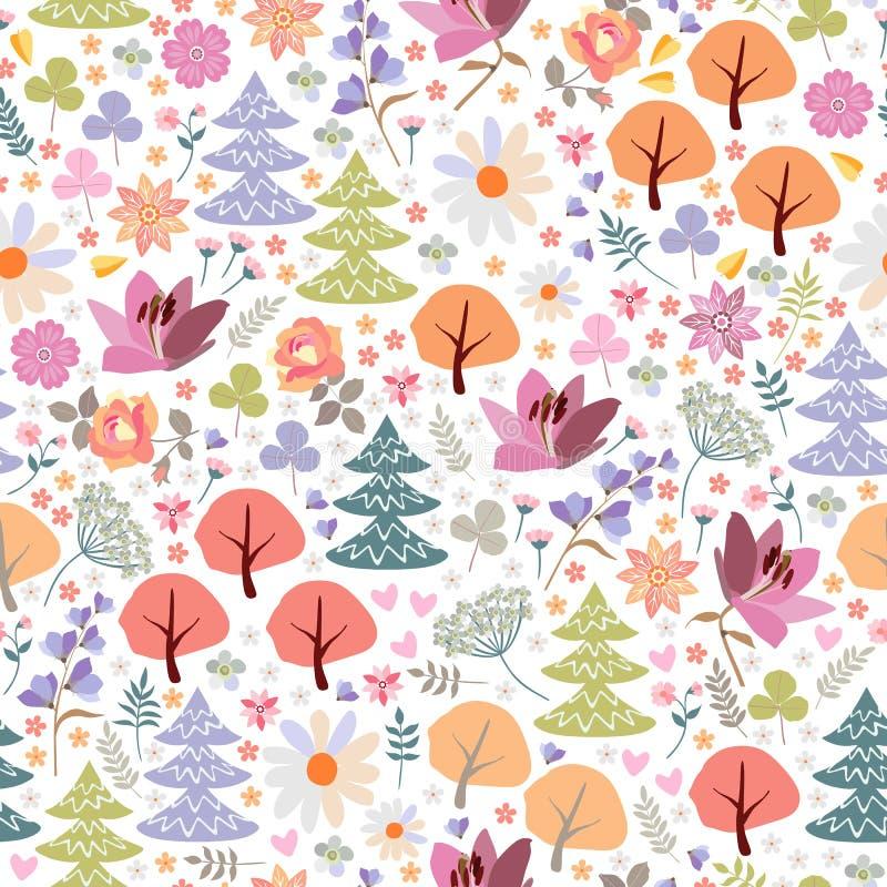 Śliczny bezszwowy wzór magiczny las z różnymi drzewami, kwiatami i liśćmi, ilustracja wektor