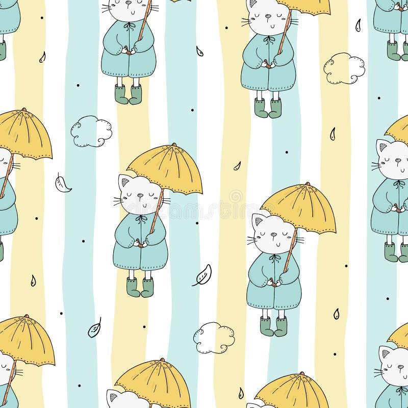Śliczny bezszwowy wzór z śmiesznym kotem i parasolem Wektorowy druk ilustracji