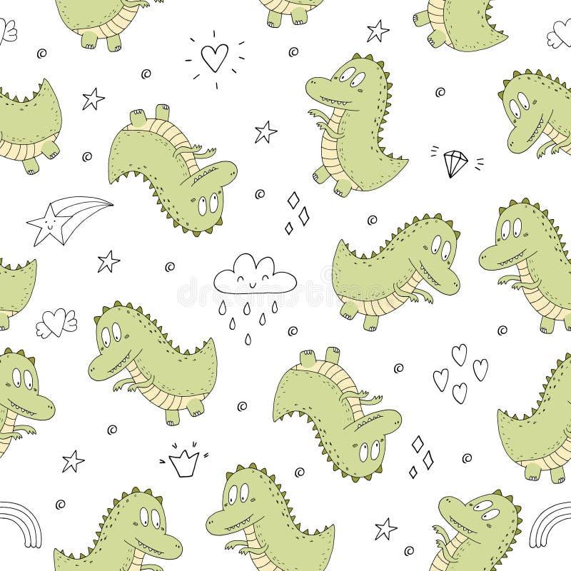 Śliczny bezszwowy wzór z śmiesznymi dinosaurami również zwrócić corel ilustracji wektora ilustracji