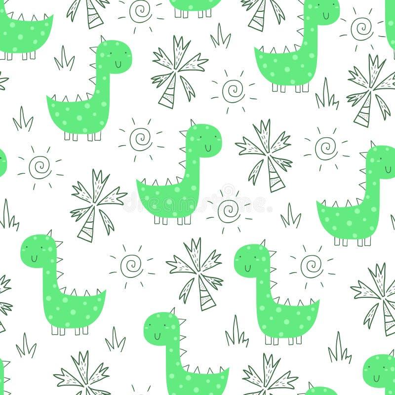 Śliczny bezszwowy wzór z śmiesznymi dinosaurami również zwrócić corel ilustracji wektora ilustracja wektor