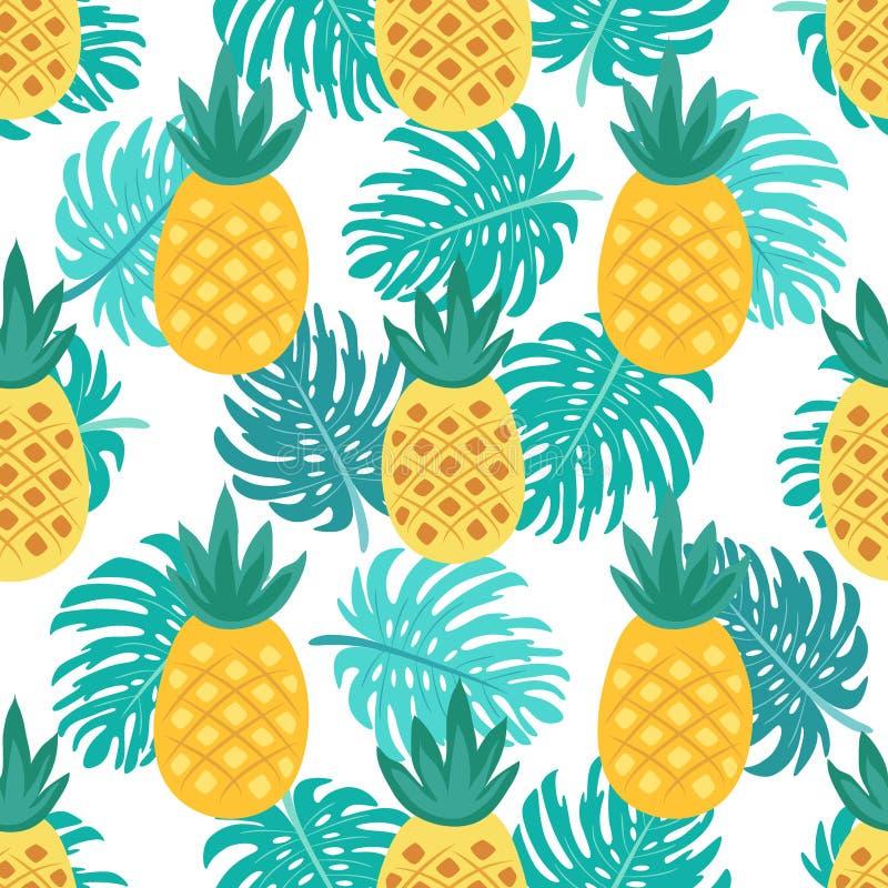 Śliczny bezszwowy wzór z ananasem ilustracji