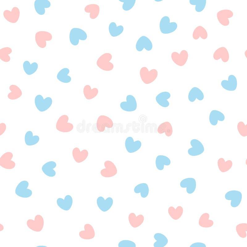 Śliczny bezszwowy wzór z błękita i menchii sercami rozpraszał na białym tle royalty ilustracja