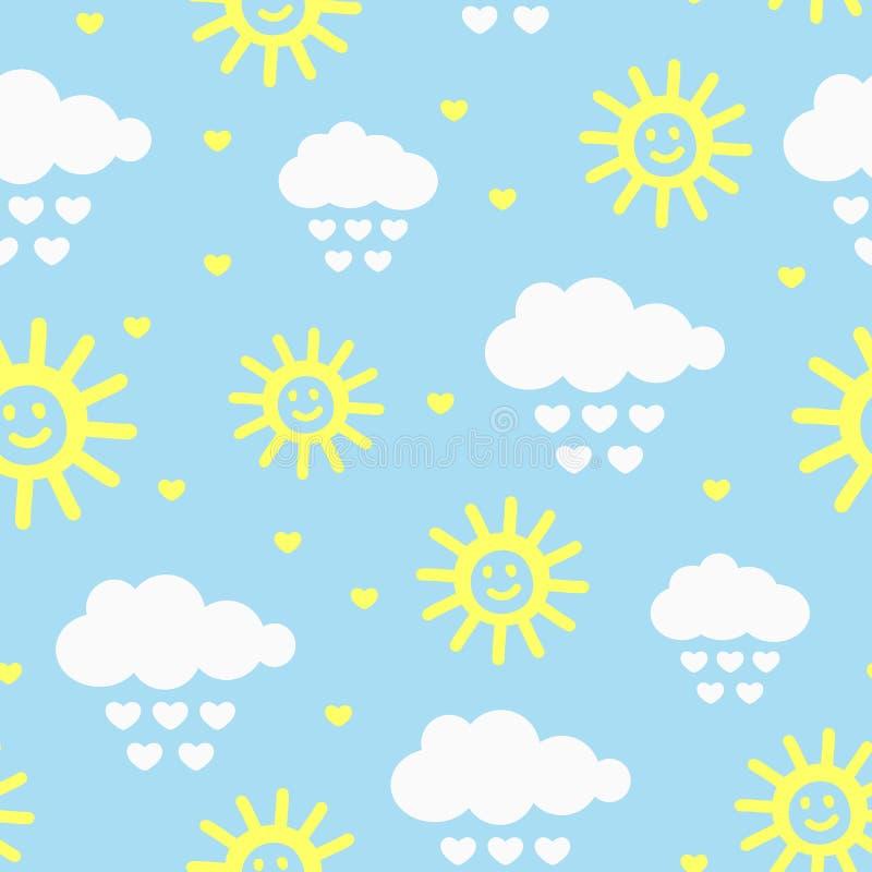 Śliczny bezszwowy wzór z chmurami, raindrops, sercami i uśmiechniętym słońcem, Rysujący ręką ilustracja wektor