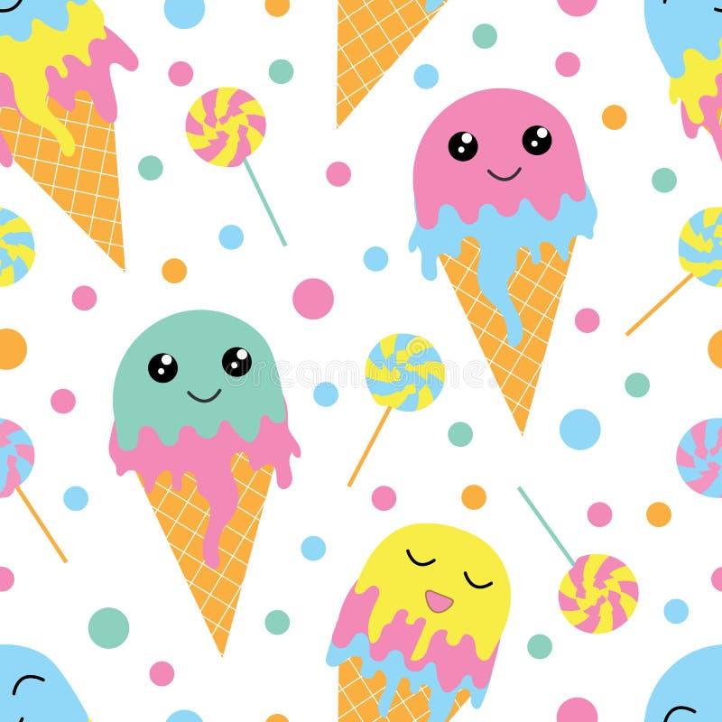 Śliczny bezszwowy wzór z cukierkami Lody i cukierek ilustracja wektor