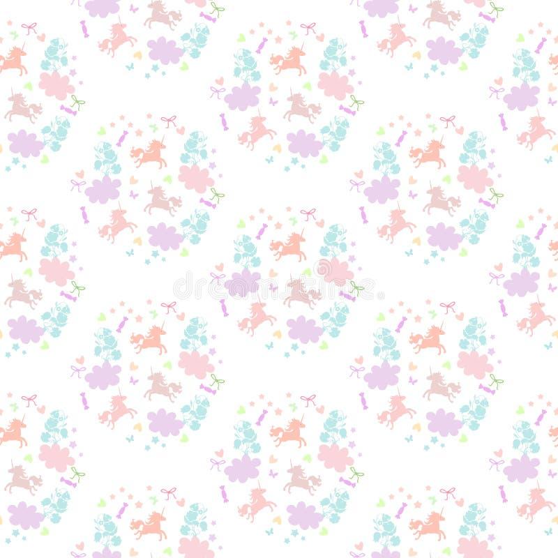 Śliczny bezszwowy wzór z jednorożec, kwiatami, chmurami, gwiazdami, sercami i cukierkami, ilustracji