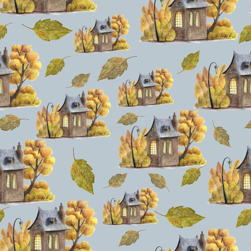 Śliczny bezszwowy wzór z jesień liśćmi i ślicznym domem ilustracja wektor