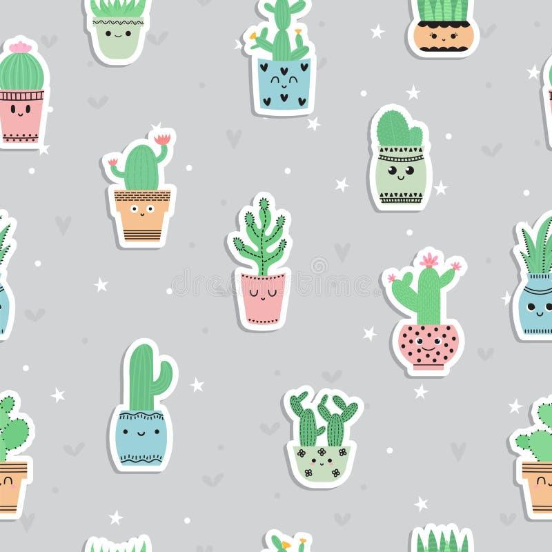 Śliczny bezszwowy wzór z kaktusami i sukulentami, ręka rysująca kwitnie Tło w scandinavian stylu z kreskówek roślinami majcher ilustracji