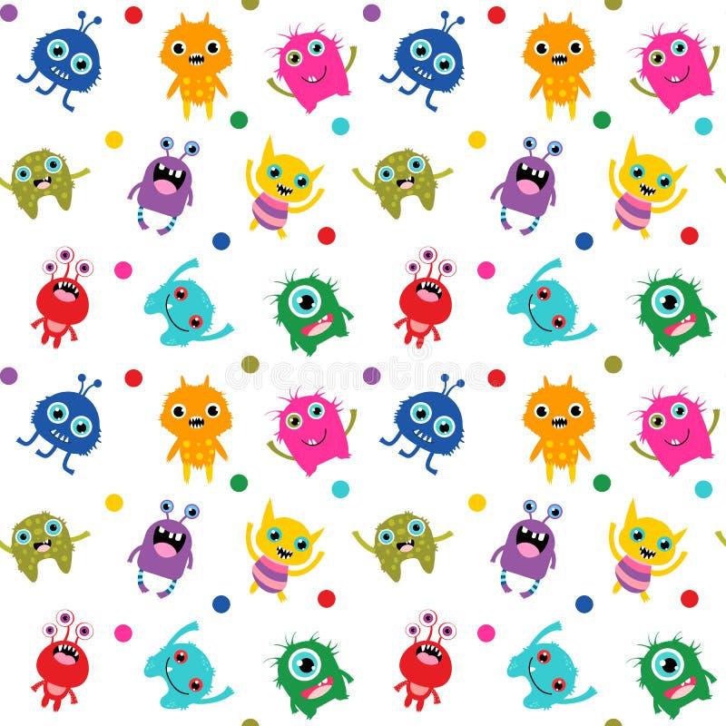 Śliczny bezszwowy wzór z kolorowymi jaskrawymi wektorowymi potworami dla b ilustracji