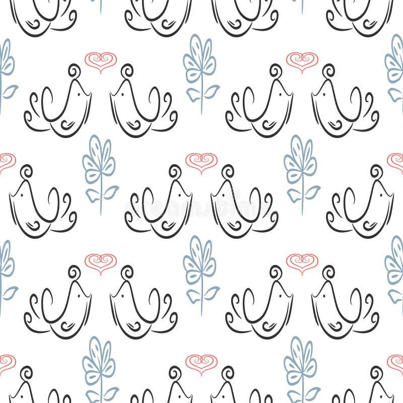 Śliczny bezszwowy wzór z konturami ptaki, serca i kwiaty enamored, Nakreślenie, doodle, skrobanina ilustracji