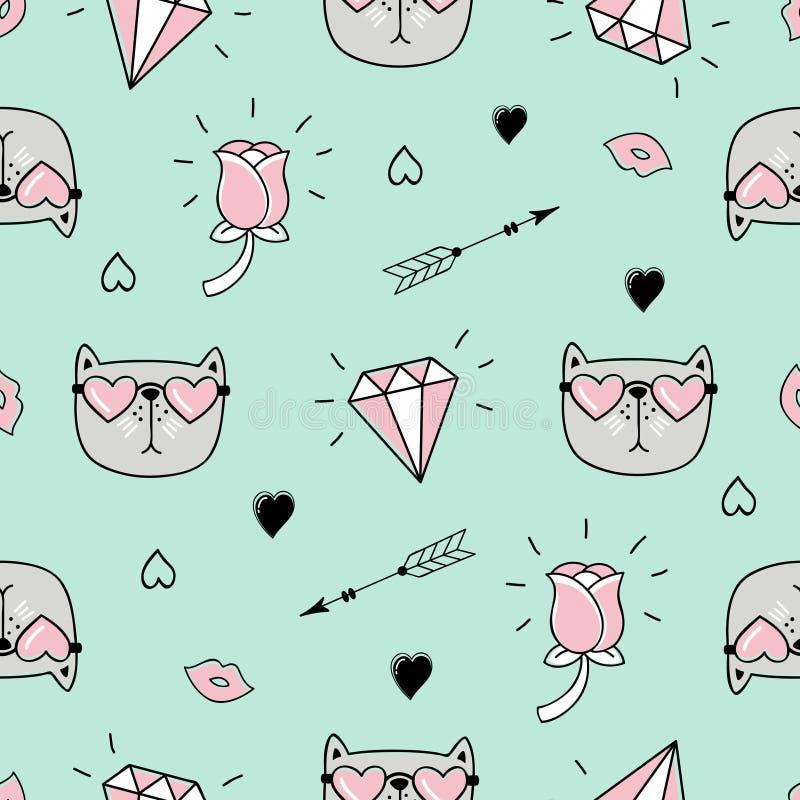 Śliczny bezszwowy wzór z kotem, sercami i miłość doodles, royalty ilustracja