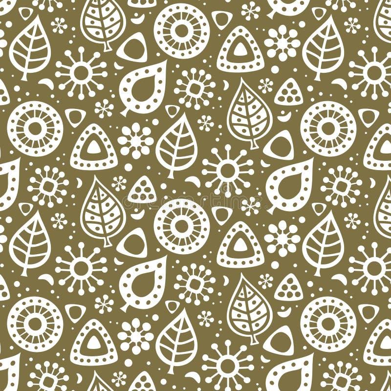 Śliczny bezszwowy wzór z kwiatami i liśćmi royalty ilustracja