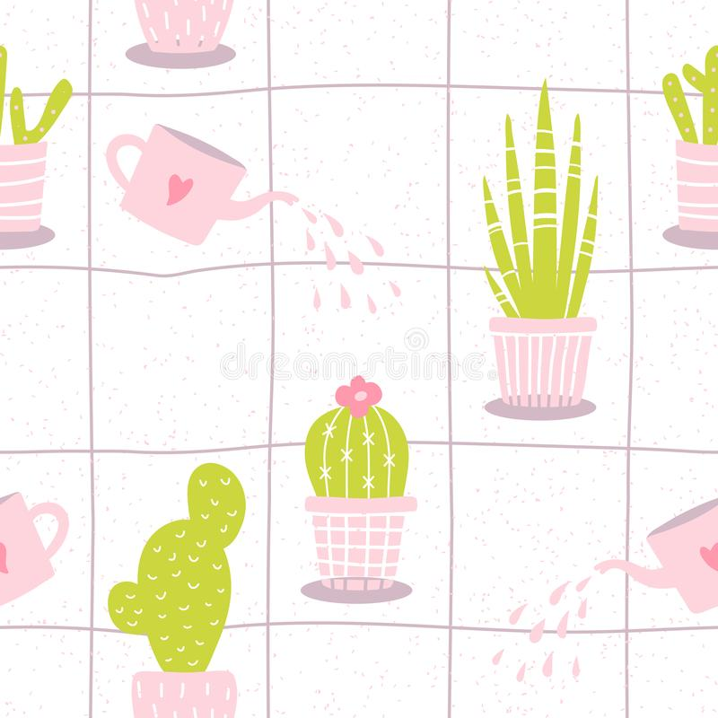 Śliczny bezszwowy wzór z kwiatem w garnku na białym tle Kwiecista wektorowa ilustracja z ręka rysującym kaktusem w minimalistic ilustracji