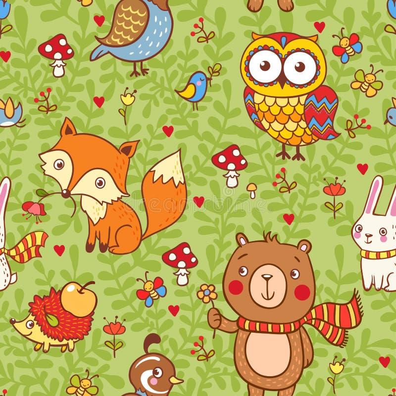 Śliczny bezszwowy wzór z lasowymi zwierzętami ilustracja wektor