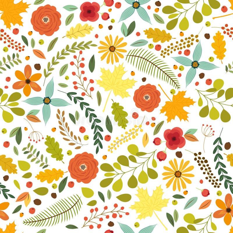 Śliczny bezszwowy wzór z nieociosana ręka rysującymi natura elementami w tradycyjnej jesieni barwi ilustracja wektor