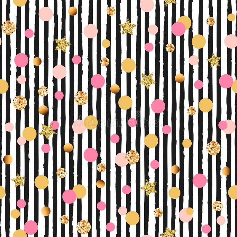 Śliczny bezszwowy wzór z okręgami i gwiazdami różowymi i złotymi, czarny i biały lampasy ilustracji