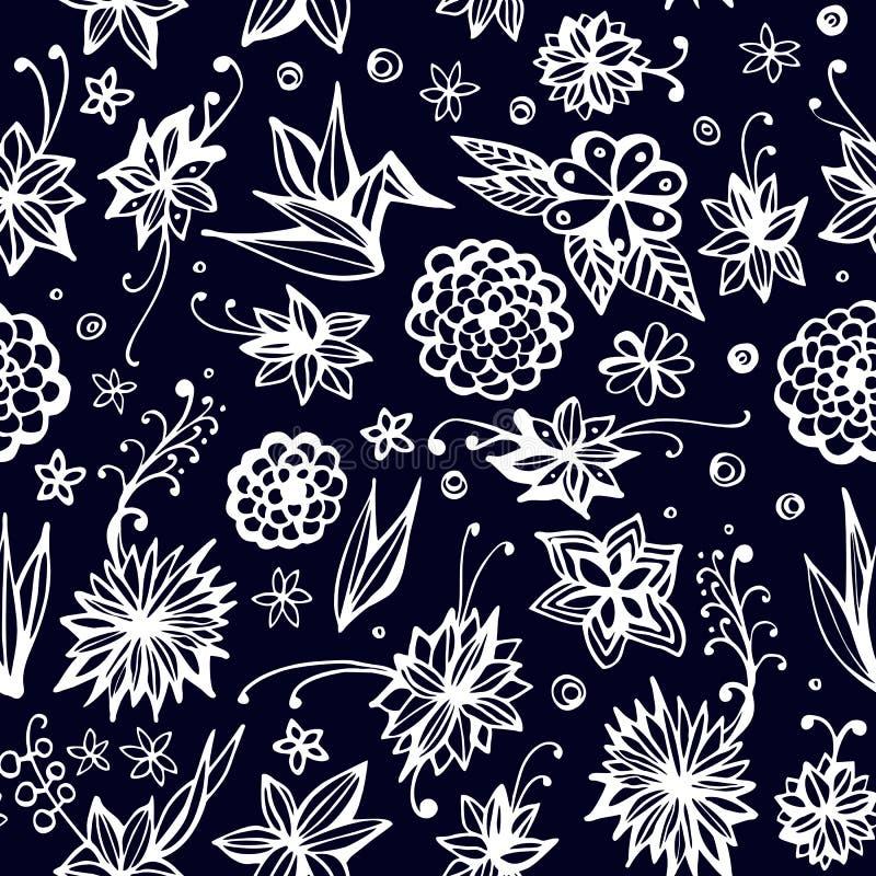 Śliczny bezszwowy wzór z pięknymi kwiatami i liśćmi wektor royalty ilustracja