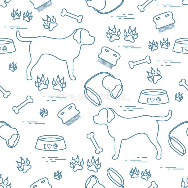 Śliczny bezszwowy wzór z psią sylwetką, puchar, ślada, kość, b royalty ilustracja