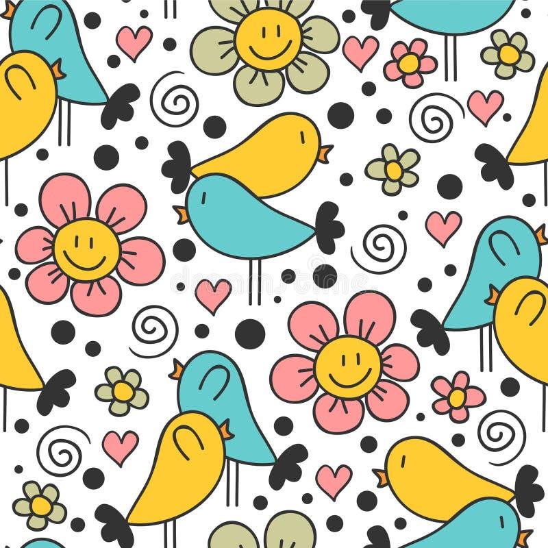 Śliczny bezszwowy wzór z ptakami royalty ilustracja