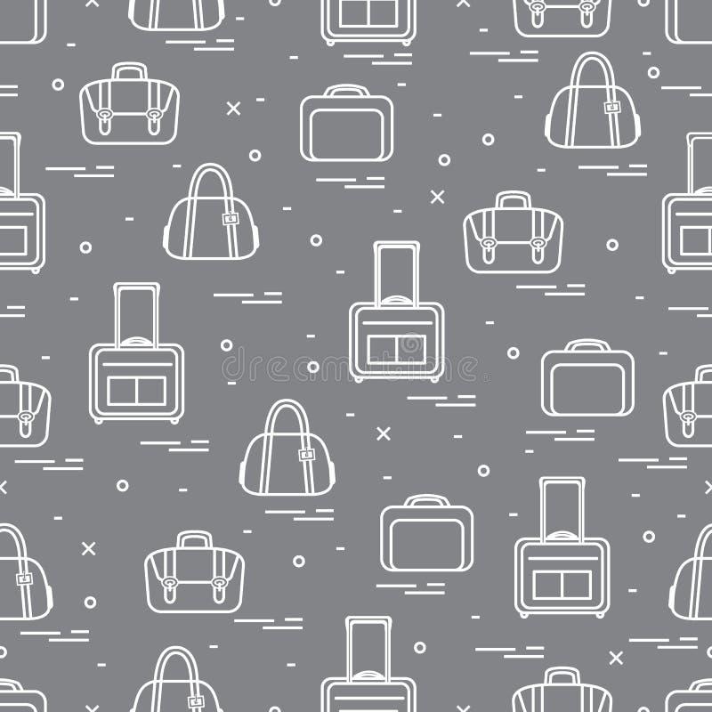 Śliczny bezszwowy wzór z różną torbą i walizkami dla mostownicy royalty ilustracja